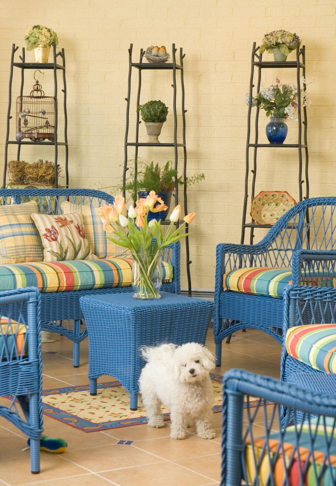 Tall Plant Stands Patio Eclectic with Aqua Bird Cage Blue Wicker Bright Color Butter Yellow Cockapoo Orange Painted