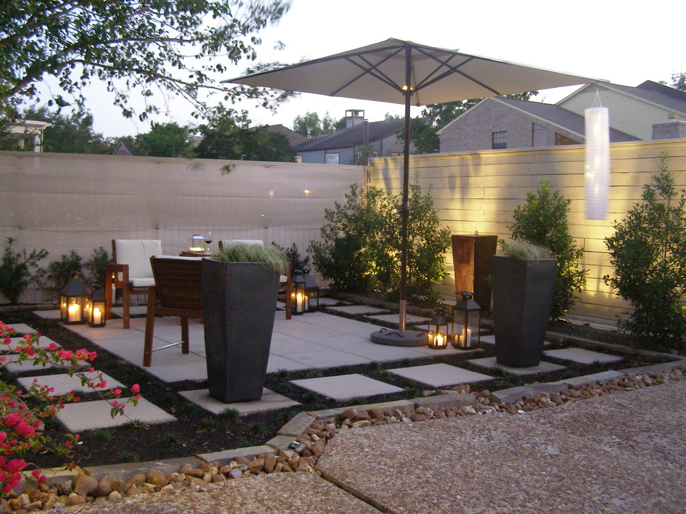 Tall Planter Patio With Border Plantings Candle Holders Candles Concrete  Paving Container Plant Geometric Geometry.