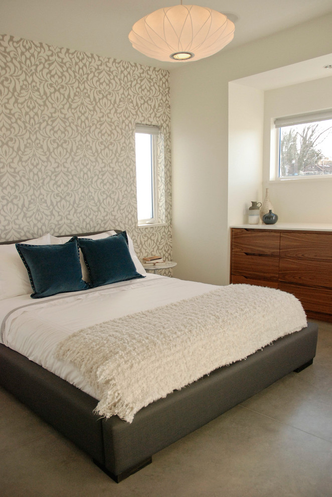 Tall Skinny Dresser Bedroom Contemporary with Bed Bedding Built in Cabinets Cement Floor Ledge Neutral Colors Nook Patterned Wallpaper