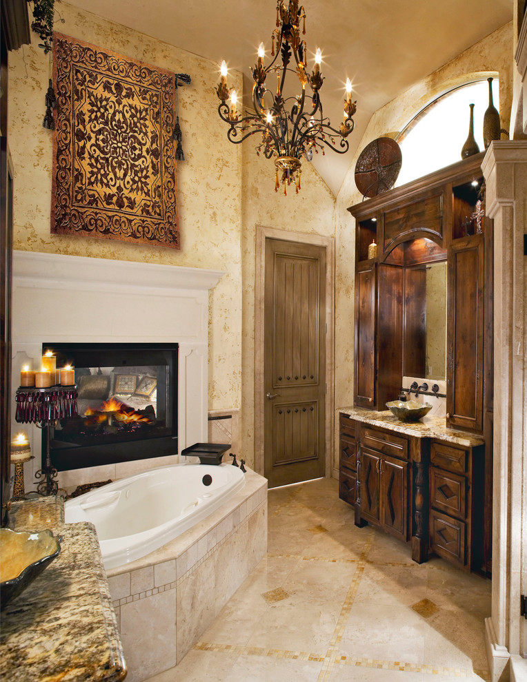 Tapestries for Sale Bathroom Traditional with Arched Window Bathroom Bathroom Fireplace Beige Stone Tub Frame Chandelier Custom Vanities