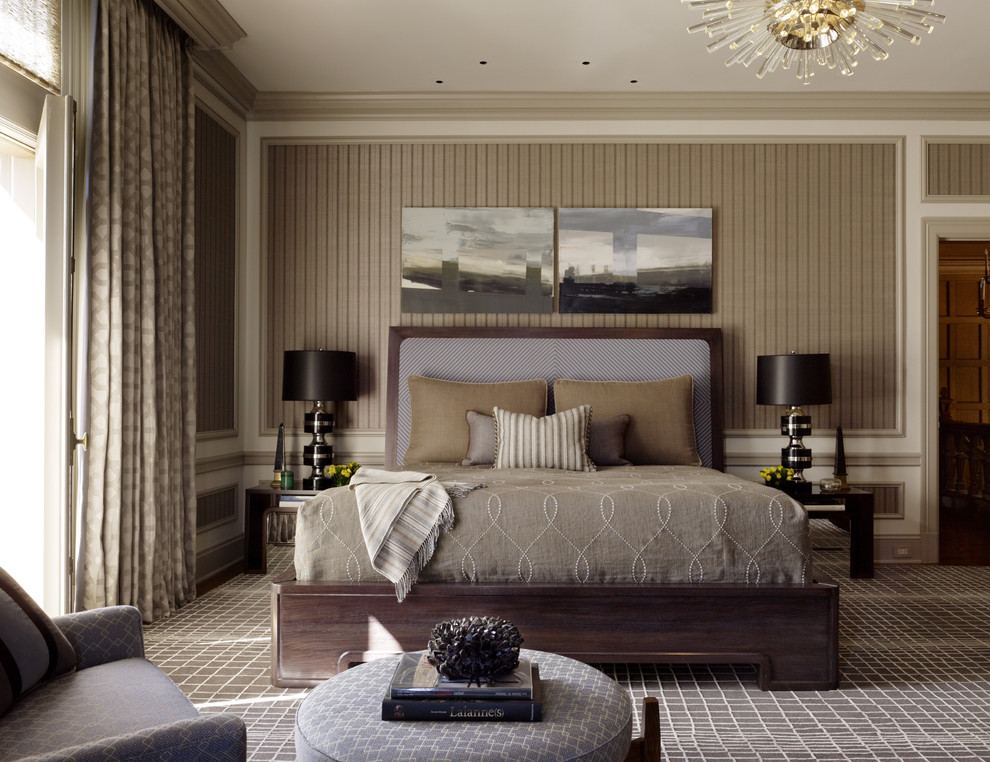 Taupe Bedding Bedroom Contemporary with Brown Bedding Chandelier Dark Brown Table Lamp Dark Wood Bed Light Brown