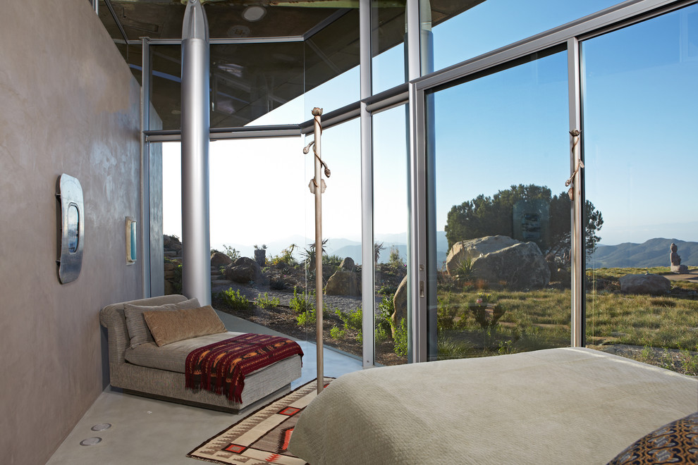 Taupe Bedding Bedroom Modern with Beautiful View Bedroom Seating Beige Bedding Clerestory Windows Concrete Floor Glass House