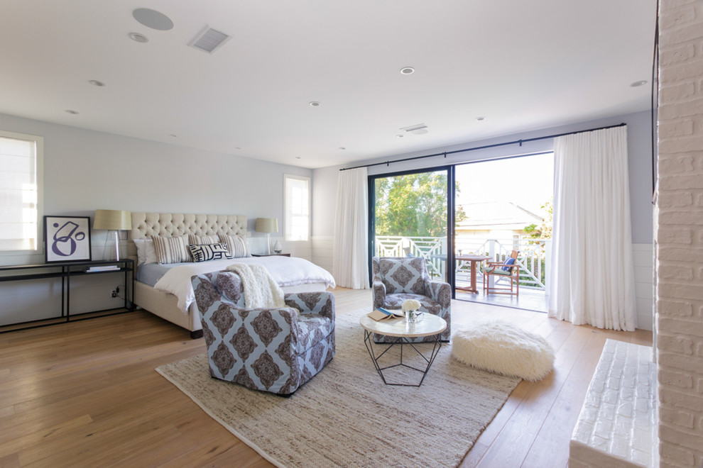 Taupe Bedding Bedroom Transitional with Balcony Master Bedroom Master Suite Sliding Glass Doors Wood Floors