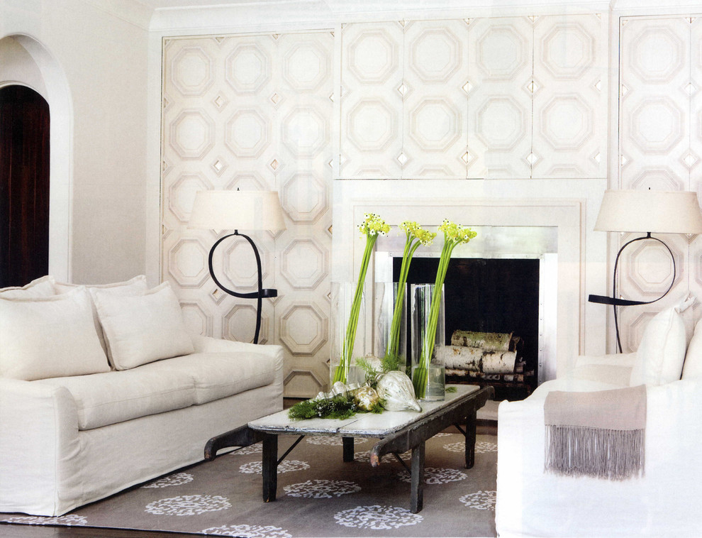 Tayse Rugs Family Room Contemporary with Accent Wall Area Rug Crown Molding Fireplace Surround Floral Arrangement Monochromatic Octagon