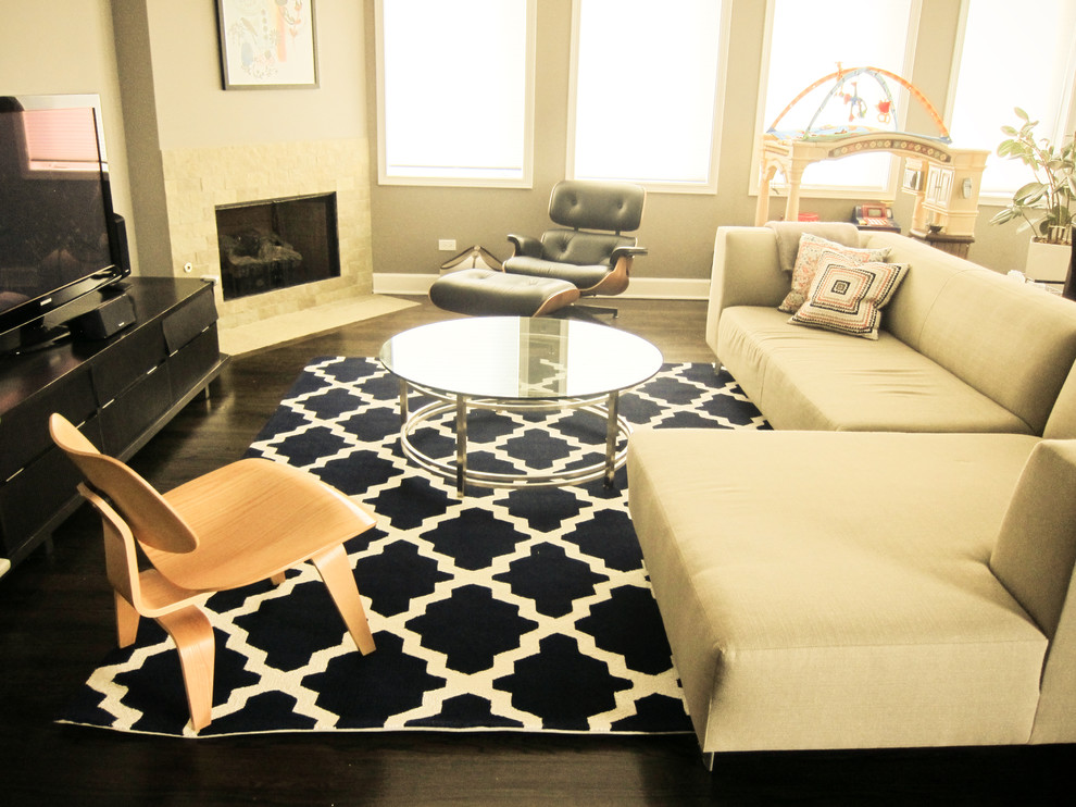tayse rugs Family Room Contemporary with area rug corner fireplace corner sofa glass coffee table mid century modern
