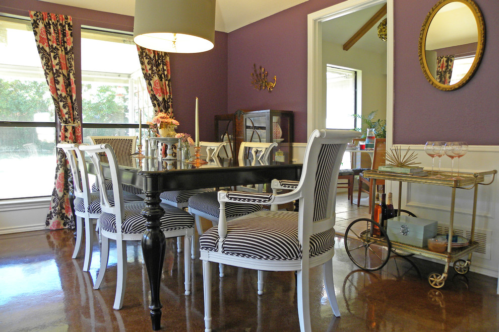tea carts Dining Room Shabby chic with bar cart black black and white stripe Dining drum lampshade mirror purple