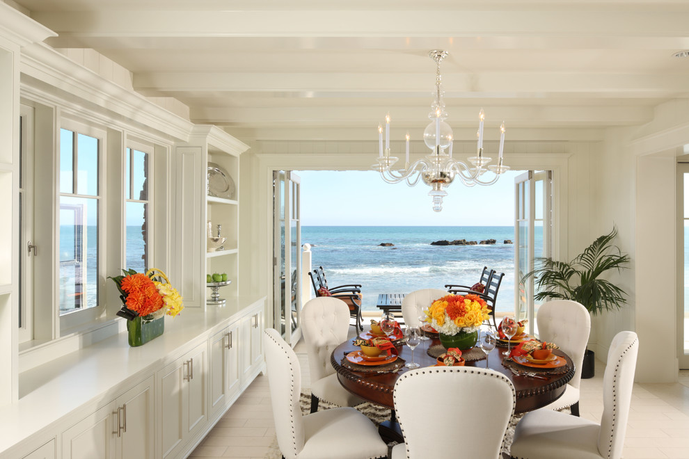 Tea Carts Dining Room Traditional with Beach Chandelier Dining Room Leather Chair Ocean Oceanview Studded Leather White