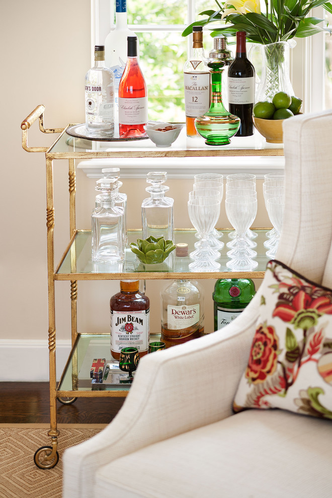 Tea Carts Living Room Traditional with Floral Lumbar Pillows Jan Showers Bar Cart White Wing Back Chairs