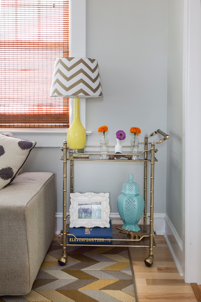 Tea Carts Living Room Transitional with Bar Cart Chevron