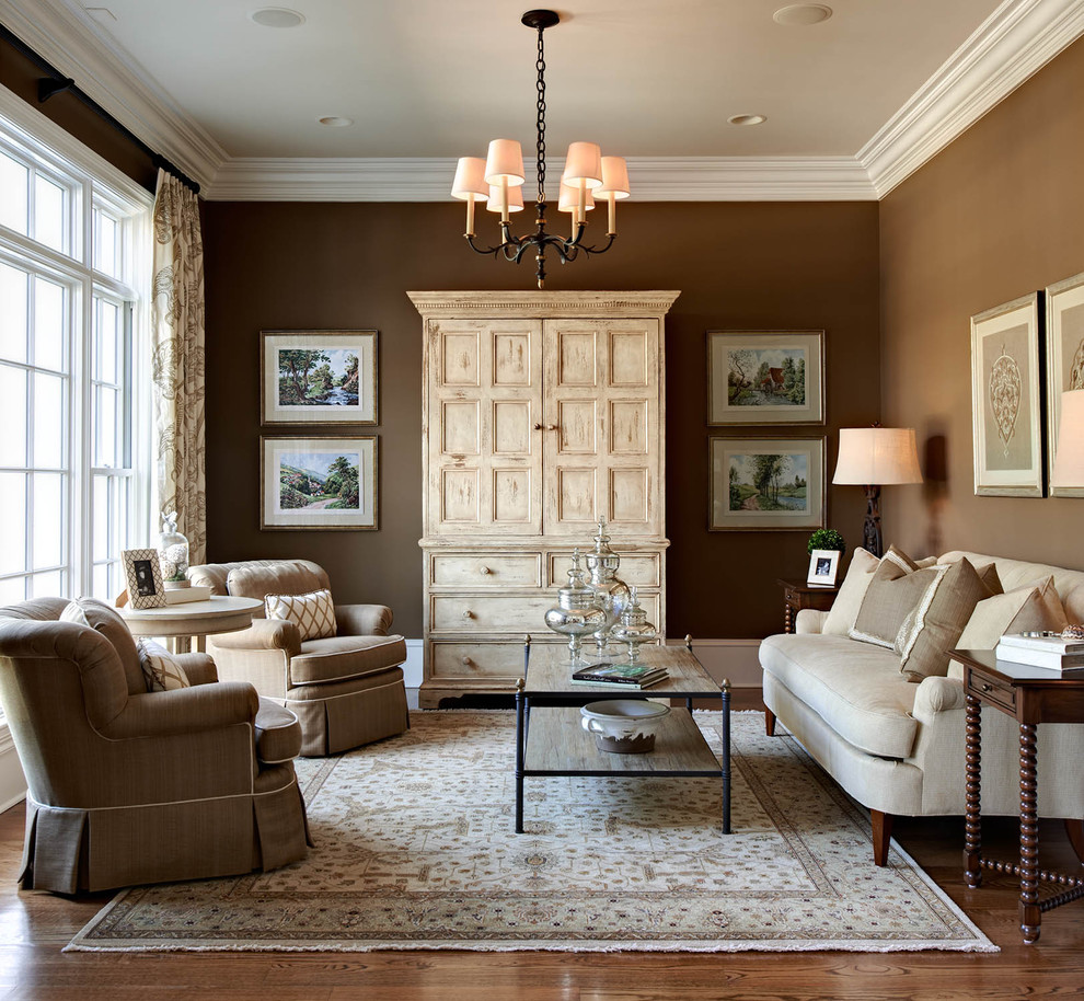 Tea Dispenser Living Room Traditional with Area Rug Arm Chairs Armoire Artwork Chandelier Coffee Table Crown Molding Curtain