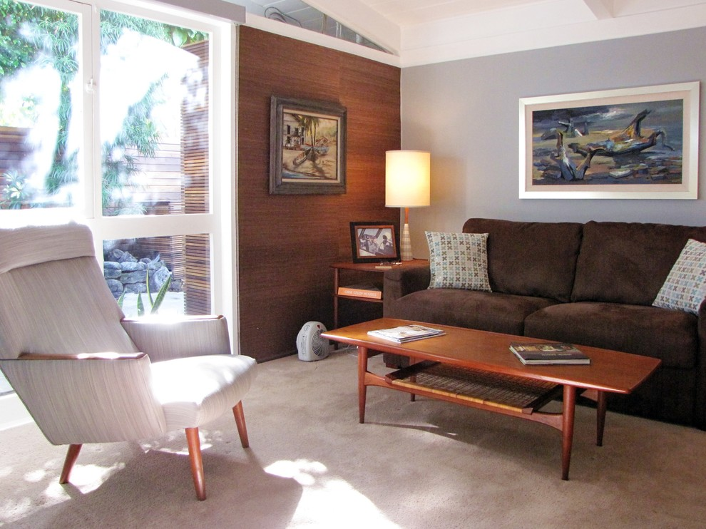 teak coffee table Family Room Midcentury with Cliff May den DWR Eames home office mid-century modern office rancho
