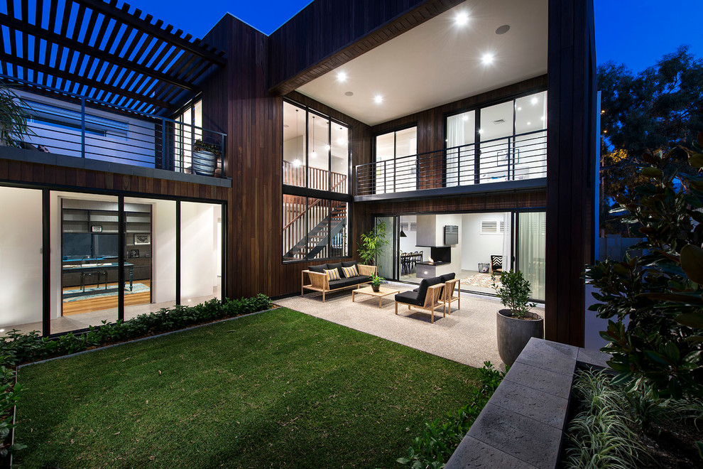 Teak Coffee Table Patio Contemporary with Black Seat Cushions Covered Patio Dark Wood Siding Grass Large Windows Love