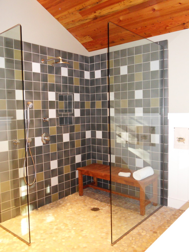 Teak Shower Bench Bathroom Traditional with Ann Sacks Tile Bead Board Walls Craftsman Bath Rainhead Shower Head Walk