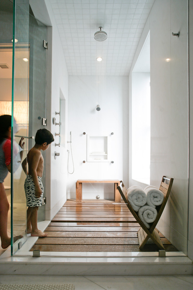 Teak Shower Caddy Bathroom Contemporary with Glass Shower Door Handheld Shower Head Marble Floor Rain Shower Head Shower