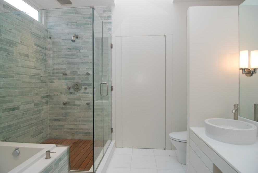 Teak Shower Caddy Bathroom Modern with Clerestory Window Glas Shower Enclosure Gray Tile Mirror Soaking Tub Teak Shower