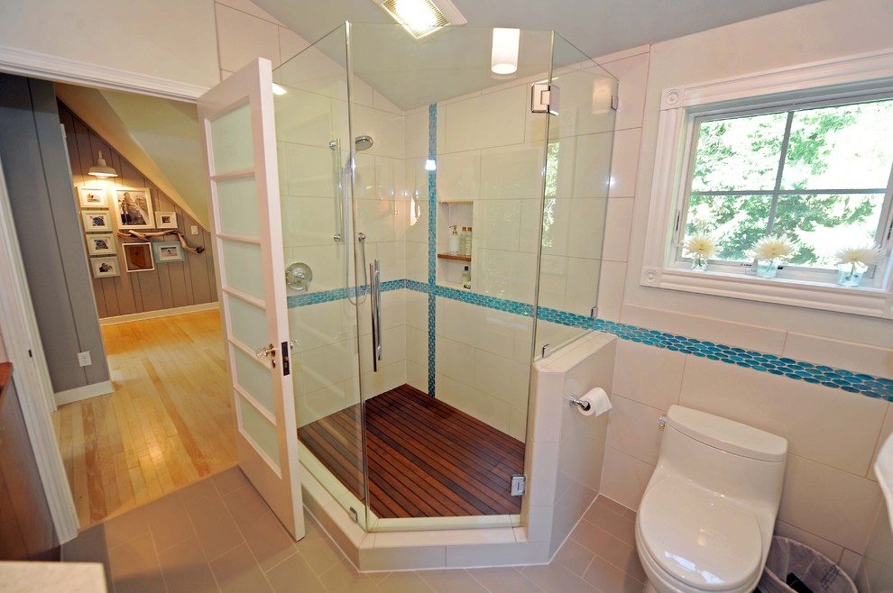teak shower caddy Bathroom Transitional with big tiles blue tiled border brown tiled floor chrome faucet corner shower