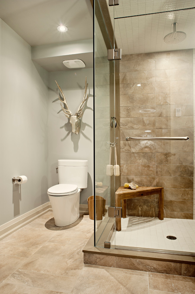 teak shower stool Bathroom Transitional with baseboards basement custom shower faux animal bust glass shower gray walls painted