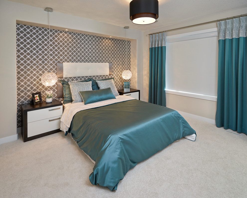 Teal Bedspread Bedroom Contemporary With Beige Carpet