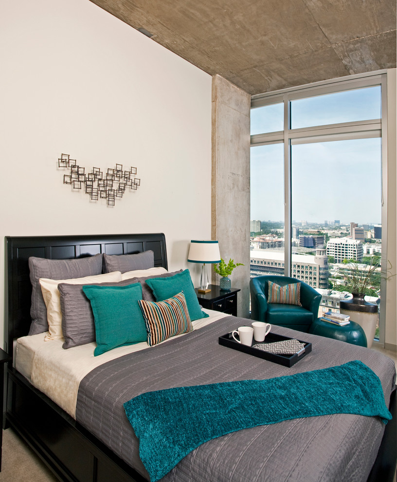 Teal Comforter Sets Bedroom Contemporary with Apartment Armchair Black Furniture Blue City View Concrete Concrete Columns Contemporary Contemporary