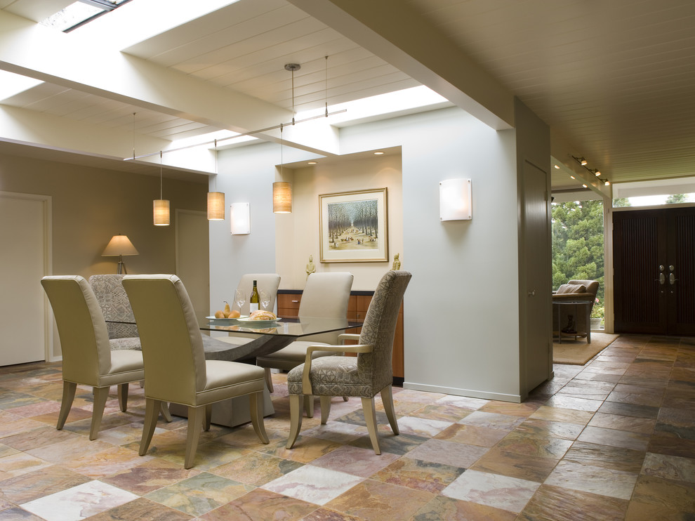 Techlighting Dining Room Midcentury with Entrance Entry Exposed Beams Glass Dining Table Neutral Colors Open Floor Plan