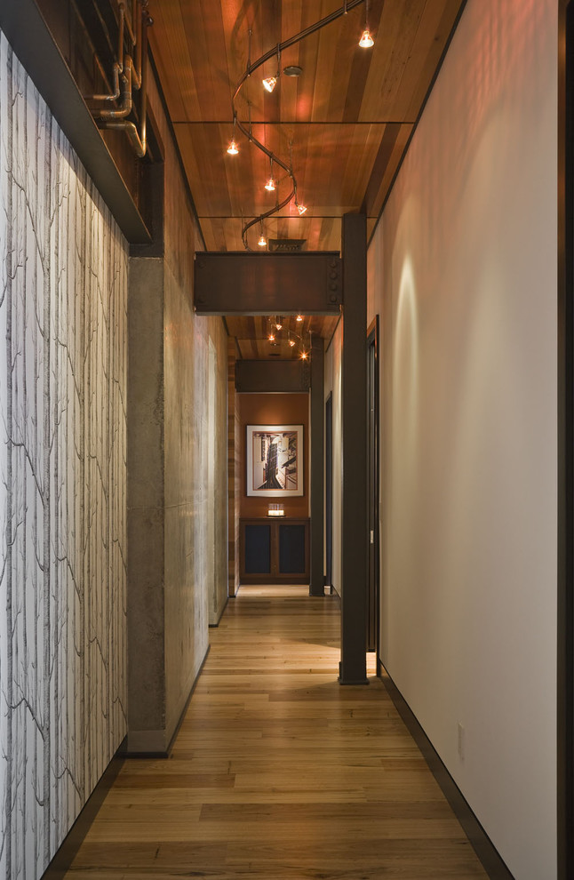 Techlighting Hall Contemporary with Artwork Baseboards Ceiling Lighting Concrete Wall Exposed Beams Metal Beams Neutral Colors