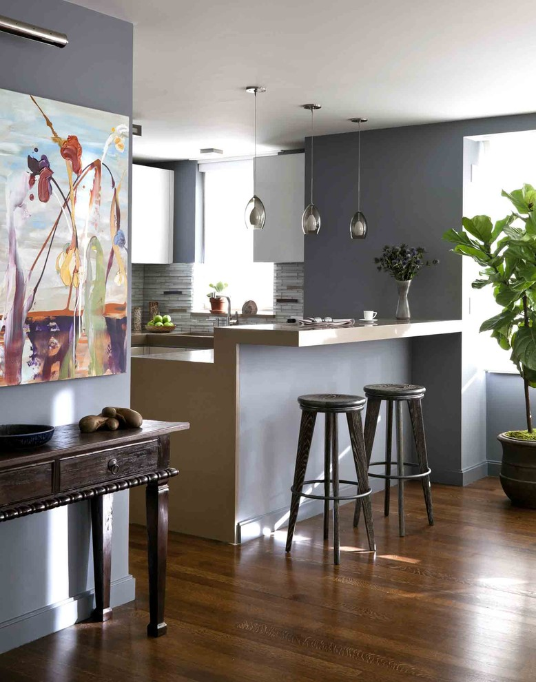 Techlighting Kitchen Contemporary with Artwork Bar Barstools Console Table Flower Vase Natural Light Pendant Lights Plant