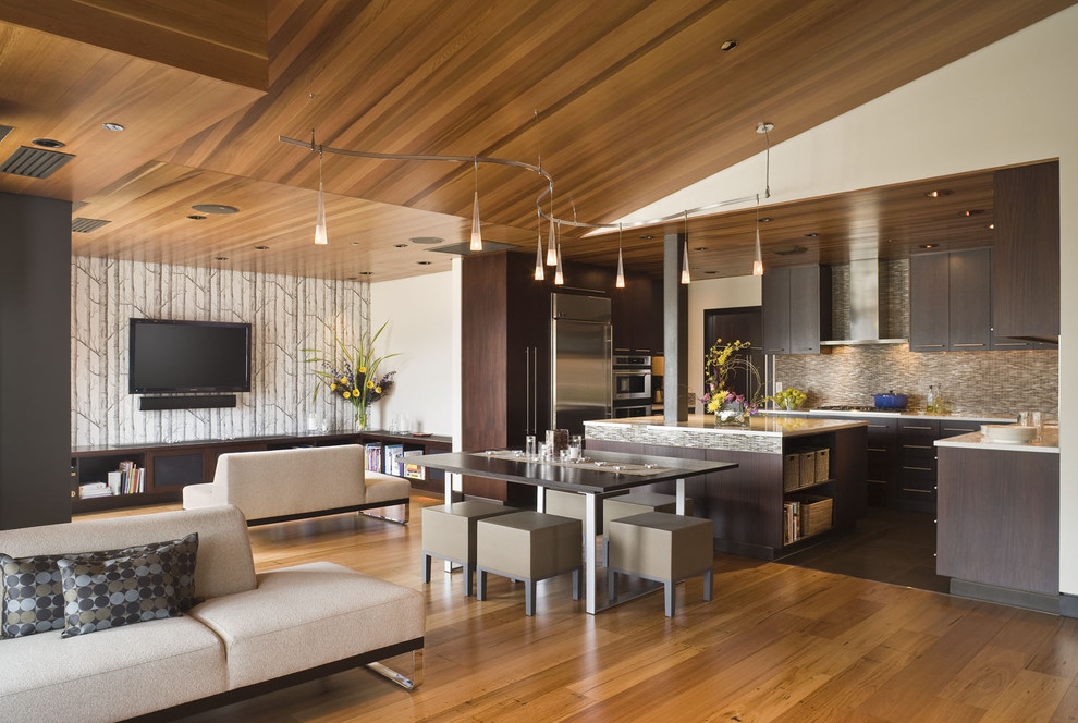 techlighting Living Room Contemporary with ceiling lighting dining stools great room multiple seating areas neutral colors open
