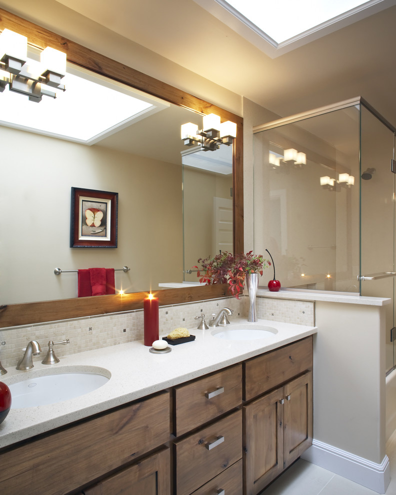 Techlighting Spaces Contemporary with Bathroom Lighting Bathroom Mirror Double Sinks Double Vanity Glass Shower Enclosure Sconce