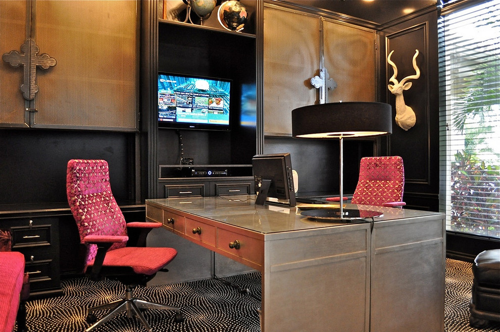 teen desk chairs Home Office Contemporary with area rug black painted wood blinds built in cabinets carpeting desk frame