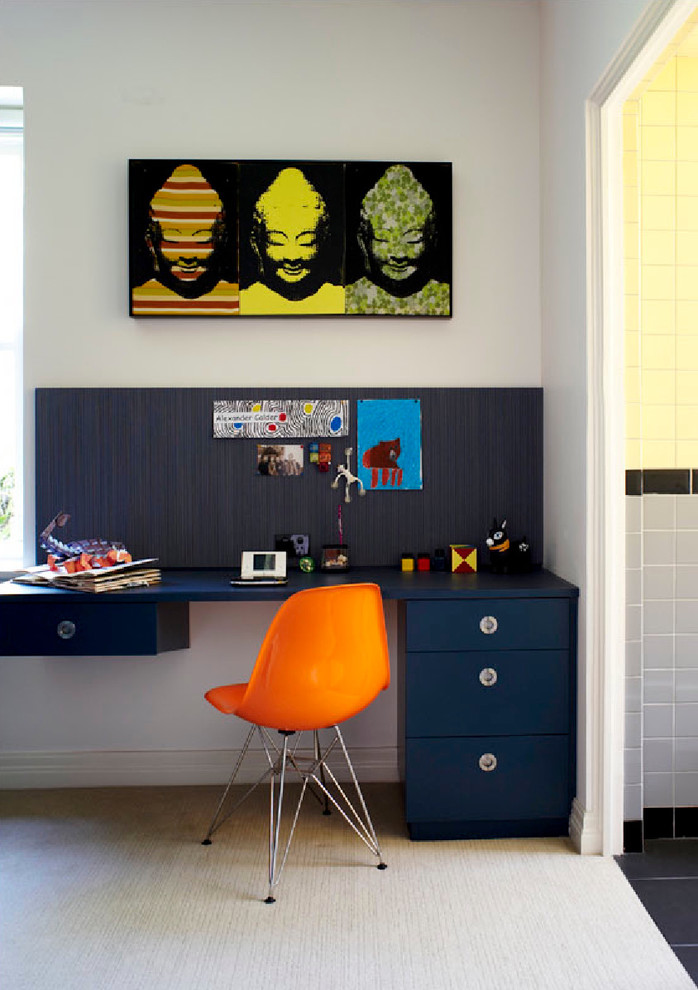 Teen Desk Chairs Kids Contemporary with Bold Colors Boys Bedroom Carpeting Dark Blue Desk Graphic Art Navy Study
