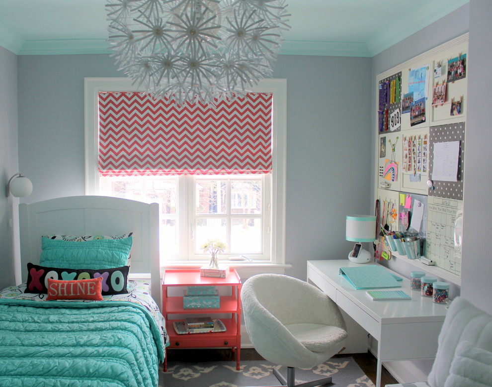 Teen Desk Chairs Kids Transitional with Area Rug Chevron Girls Room Grey and Coral Kids Bedroom Light Aqua