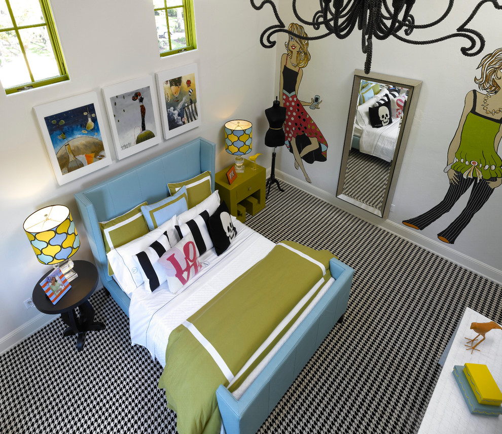 Teen Girl Bedding Sets Bedroom Contemporary with Black Chandelier Black Checkered Carpet Blue Bed Blue Headboard Graphic Art Green