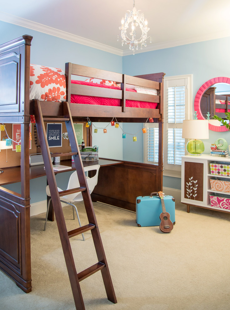 Teen Girl Bedding Sets Kids Transitional with Bean Bag Beanbag Blue Bright Bright Colors Built in Desk Bunk Bed