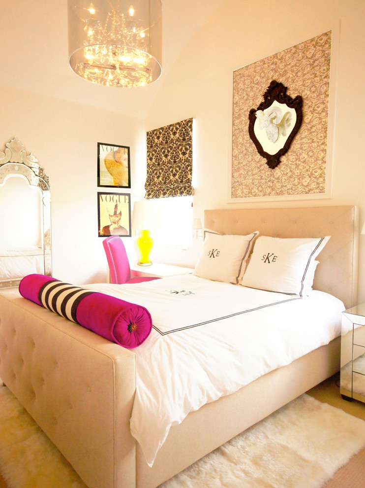 Teen Girl Bedding Sets Kids Transitional with Bed Roll Damask Desk Chair Hot Pink Mirrored Nightstand Monogram Pendant Light