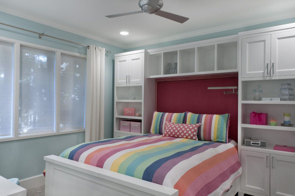 Teen Vogue Bedding Kids Traditional with Baseboards Bedroom Blue Walls Built in Bed Built in Storage Ceiling Fan