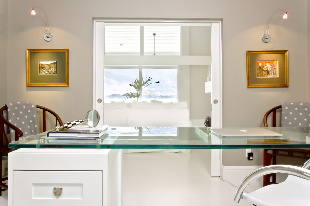 Tempered Glass Table Top Home Office Contemporary with Arm Chairs Chrome Glass Countertop Gold Frames Gray Polka Dots Gray Walls