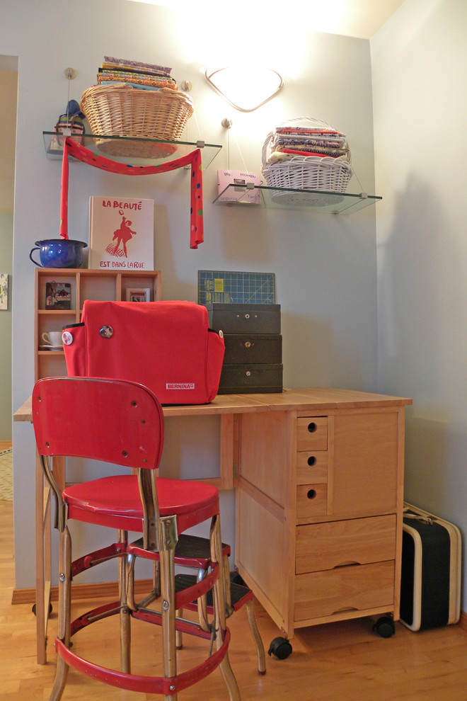 Throw Pillow Covers Home Office Eclectic with 1950s Craft Create Desk Organize Red Retro Room Sewing Machine Stool Storage
