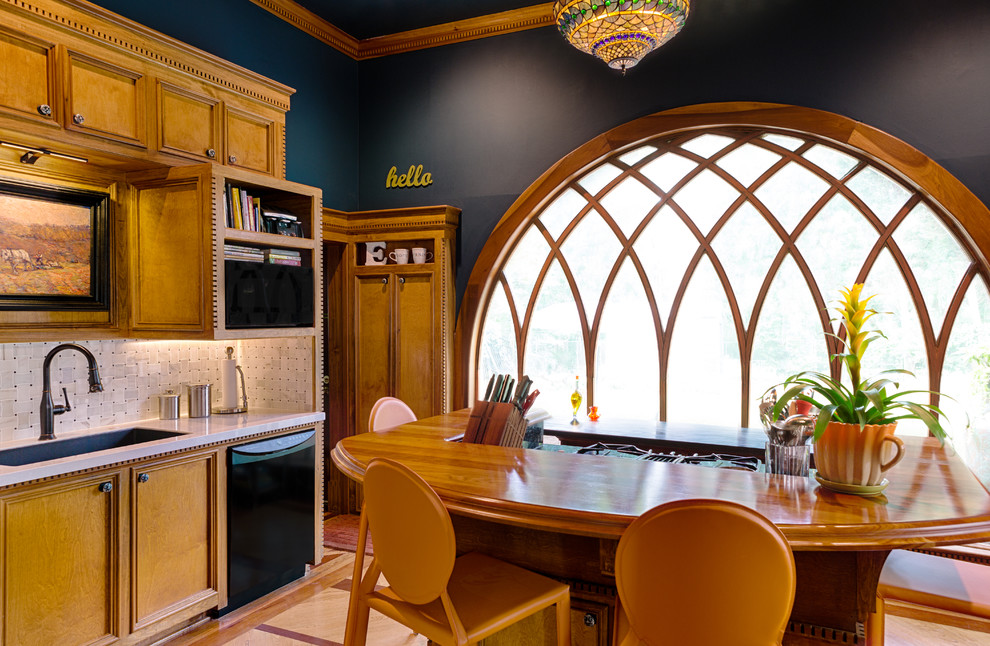 Tiffany Chandelier Kitchen Victorian with Arched Window Convex Window Curved Muntins Dentil Molding Detailed Woodwork Hardwood Floors