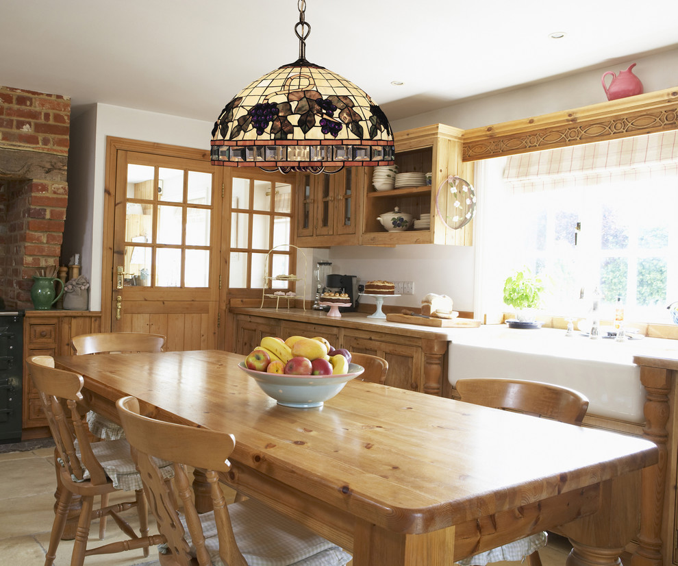 tiffany chandelier Kitchen with 212-TB chandelier country kitchen double doors Elk Lighting exposed brick wall farm