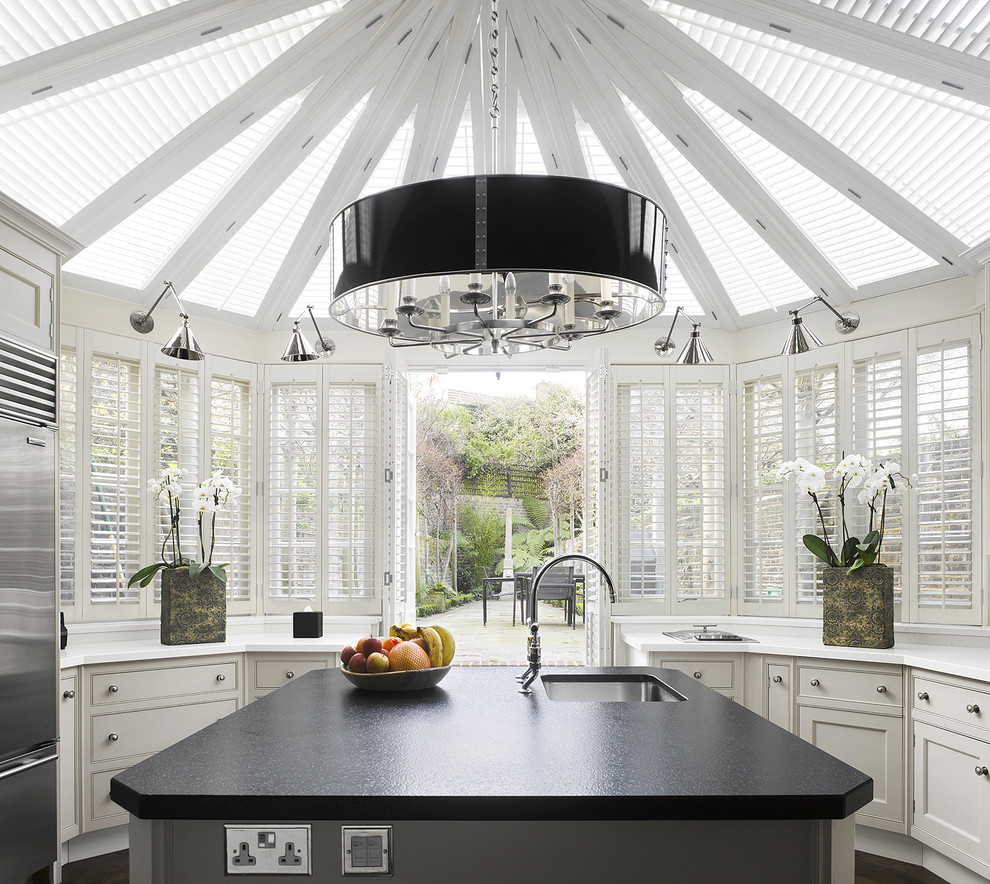 Tiffany Lamps Kitchen Contemporary with Black and White Kitchen Kitchen Island Plantation Shutters Sconce Shade Chandelier Skylights