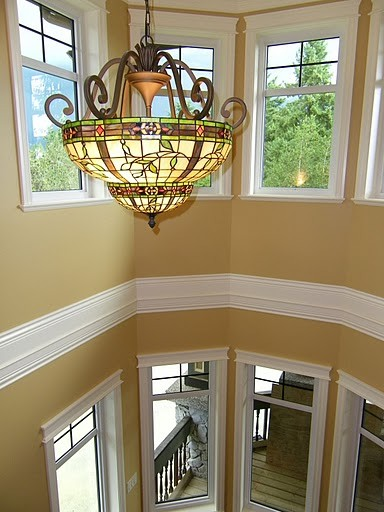 Tiffany Style Lamps Staircase Traditional with Cream Trim Heritage Home Honeymoon Wall Colour Interior Design by Jil Sonia