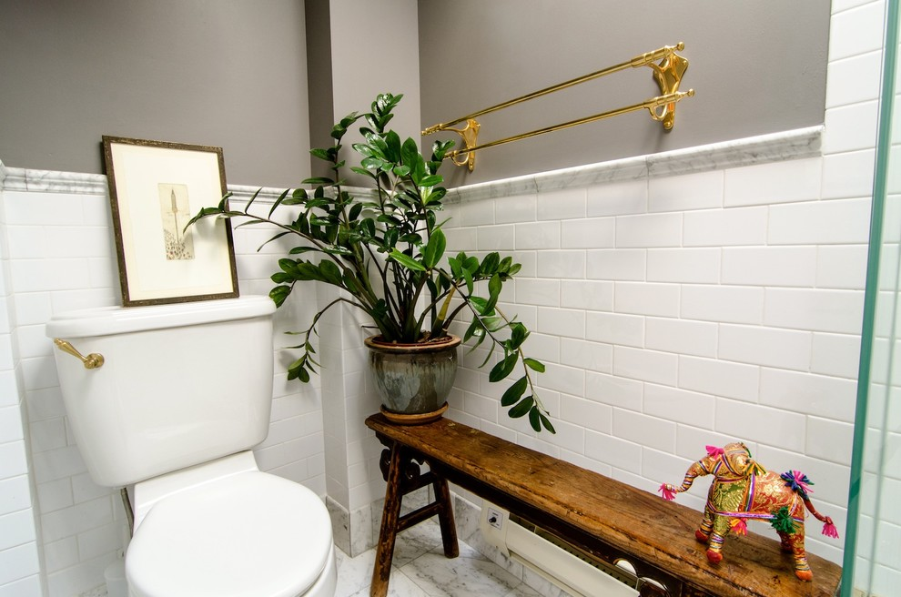 Tile Edge Trim Bathroom Eclectic with Antique Chinese Bench Carrara Marble Chair Rail Subway Tile Unlacquered Brass Towel