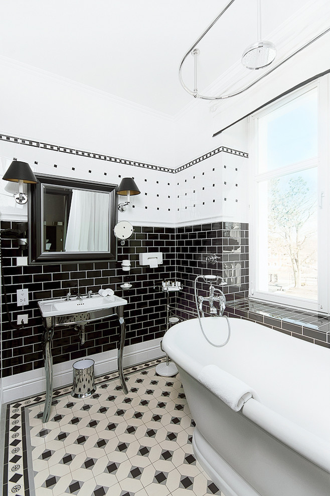 tile edge trim Bathroom Traditional with bathroom black Metro Tiles minton tiles mirror white window
