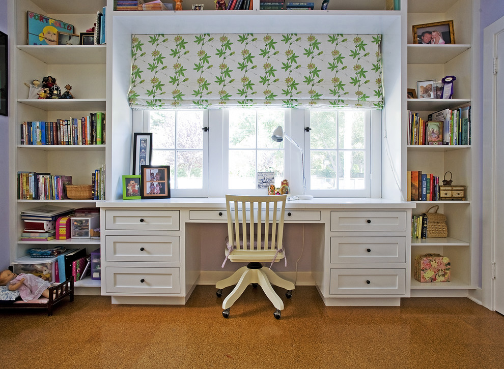 Toddler Rocking Chair Bedroom Traditional with Cork Floor Custom Custom Made Desk Girls Room Lavender Raoul Textiles