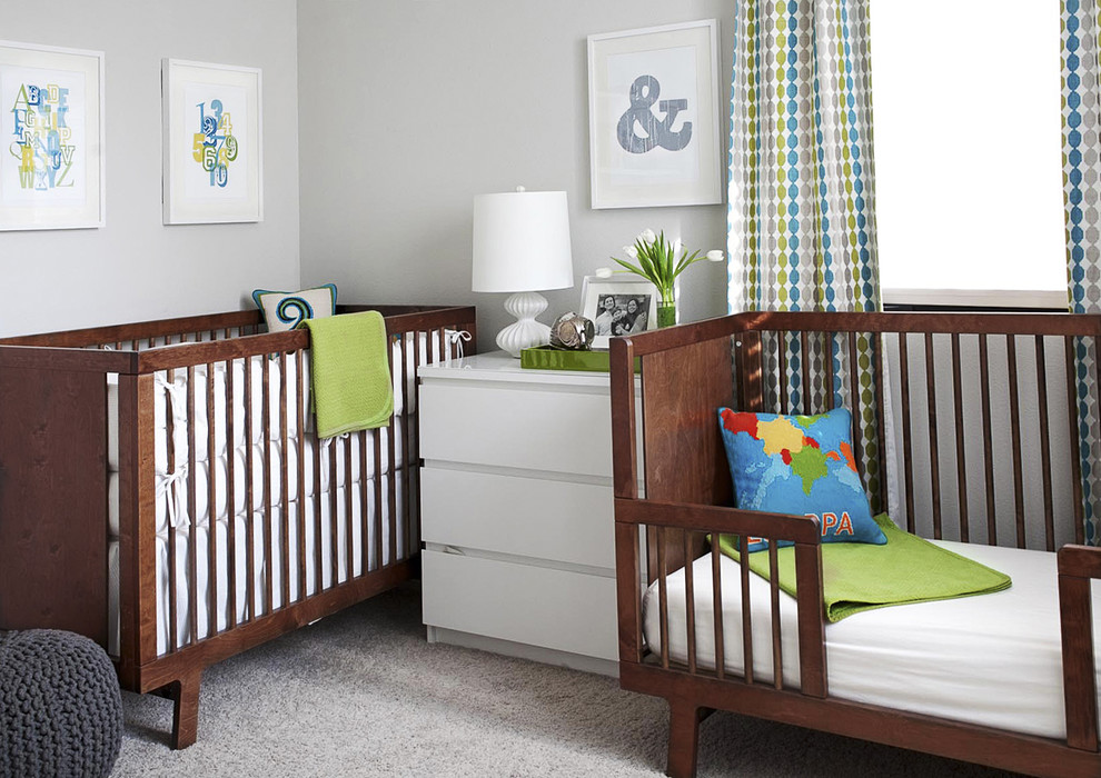 Toddler Rocking Chair Nursery Modern with Art Bed Carpet Chest of Drawers Crib Curtain Draperies Gender Neutral Nursery Green