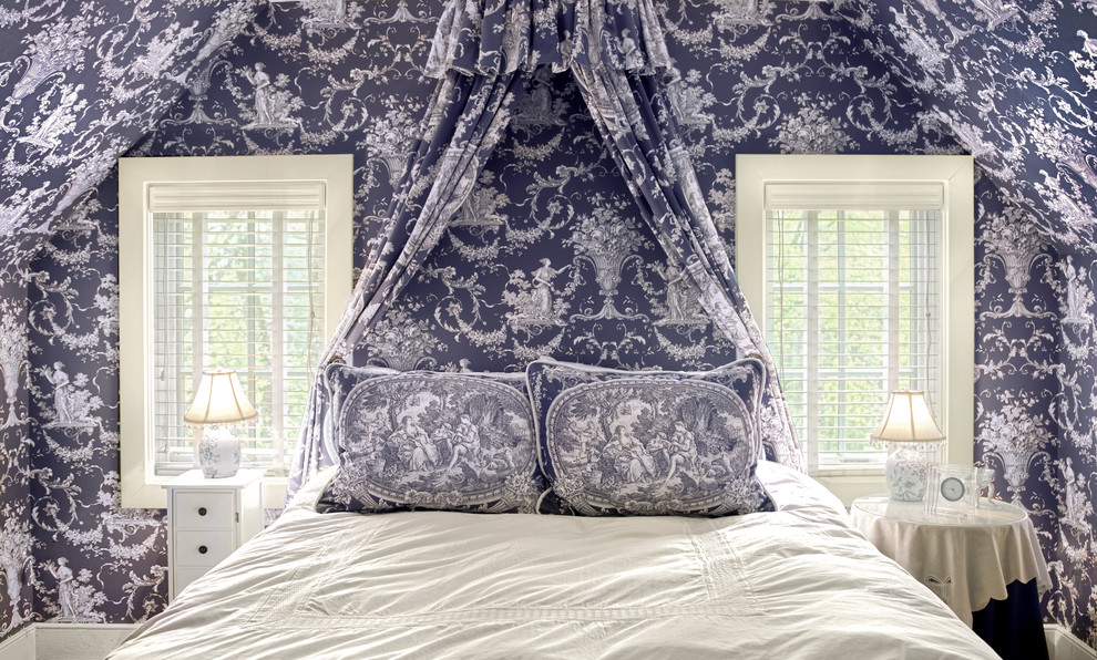 Toile Bedding Bedroom Traditional with Bed Canopy Bed Pillows Camouflage Skirted Tables Toile Bedding Toile Wallpaper White
