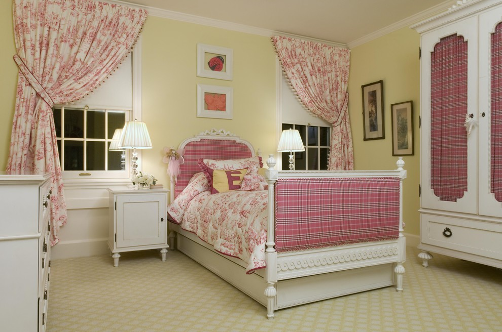 Toile Bedding Kids Traditional with Armoire Bed Pillows Bedroom Bedside Table Carpet Pattern Curtains Double Hung Windows