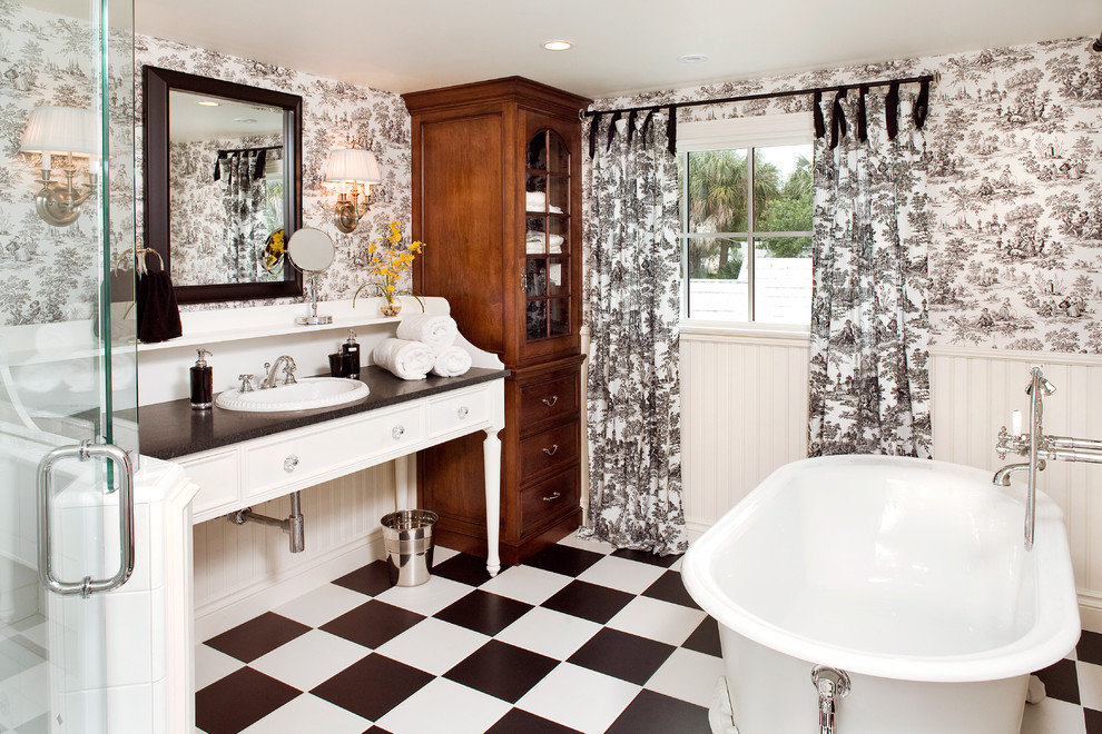 Toile Curtains Bathroom Traditional with Beach Decor Beach Home Beadboard Black and White Black and White Floor