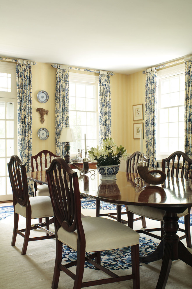 Toile Curtains Dining Room Traditional with Area Rug Centerpiece Curtains Decorative Wall Plates Double Hung Windows Drapes Floral