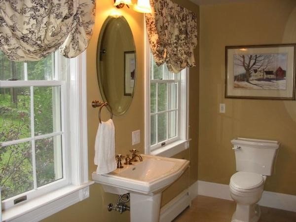 toile curtains Powder Room Traditional with classic country pedestal Tile toile
